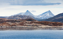 Norwegian landscape with sea coast and mountain Stock Image