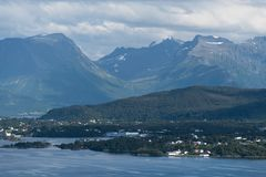 Summer landscape in Norway, view from the Aksla mountain in the Royalty Free Stock Image