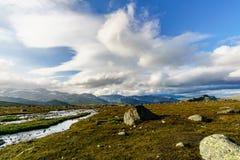 Norwegian landscape at sunset stock photography
