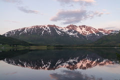 Norwegian landscape at sunset Stock Images