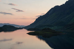 Norwegian landscape at sunset Royalty Free Stock Images