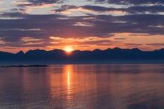 Norwegian landscape at sunset Stock Photos