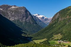 Norwegian landscape with mountains. Royalty Free Stock Photos