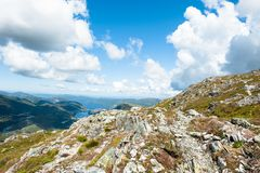 Norwegian landscape. View from a mountain near bergen city in norway Royalty Free Stock Image