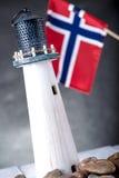 Norwegian lighthouse, natural seaside concept Stock Photos