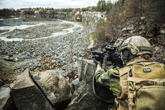 Norwegian machine gunner among the rocks Royalty Free Stock Images