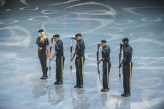 Norwegian Military Tattoo 8 May 2014. From Oslo Spektrum 8 May 2014. Closed performance to celebrate the Liberation Day & Veterans' Day. New Guard America Drill Stock Image