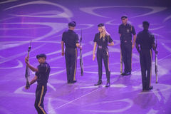 Norwegian Military Tattoo 8 May 2014. From Oslo Spektrum 8 May 2014. Closed performance to celebrate the Liberation Day & Veterans' Day. New Guard America Drill stock photos