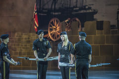 Norwegian Military Tattoo 8 May 2014. From Oslo Spektrum 8 May 2014. Closed performance to celebrate the Liberation Day & Veterans' Day. New Guard America Drill royalty free stock photos
