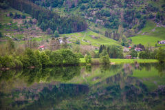 Norwegian mirror fjord landscape Royalty Free Stock Photography