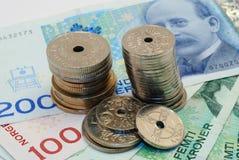 Norwegian money. Isolated Norwegian money - kroner - in banknotes and coins Stock Image