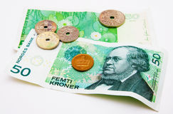Norwegian money. Norwegian crowns on the light background Stock Photography