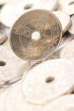 Norwegian money. Closeup of Norwegian currency, also called kroner in Norwegian. 5,6 kroners = US Dollar royalty free stock images
