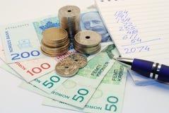 Norwegian money - budget Stock Image