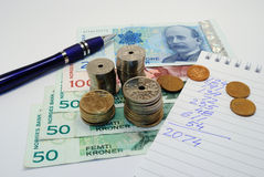 Norwegian money - budget Stock Photography