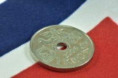 Norwegian money. One Norwegian krone Royalty Free Stock Images