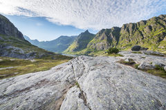 Norwegian Mountain Landscape, Lofoten Islands Stock Photo
