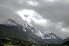 Norwegian Mountains. Low clouds over Norwegian mountains Royalty Free Stock Photo