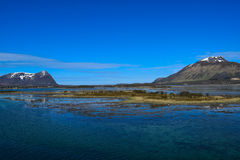 Norwegian mountains seen from the sea. Above the Arctic Circle. Stock Image