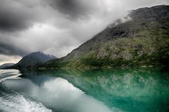 Lake reflections landscape in europe. Norwegian nature landscape at summer tourism trip Stock Photography