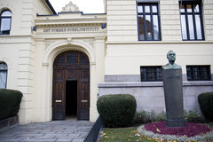 The Norwegian Nobel Institute in Oslo. The entrance to the Norwegian Nobel Institute in Oslo, Norway. Statue of Alfred Nobel outside Royalty Free Stock Photo