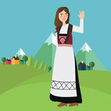 Norwegian Norway Iceland Sweden girls wearing traditional clothes in front of mountain landscape Stock Photography