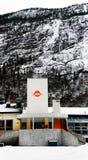 Norwegian Office of Labor in Rjukan. Norwegian Office of Labor, NAV  building in Rjukan,  late afternoon. Norwegian winter. Rjukan in Telemark region of Norway Stock Photos