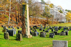 Norwegian old cemetery in the woods Royalty Free Stock Photo