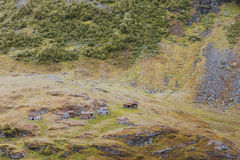 Norwegian old country houses in mountains. Royalty Free Stock Images