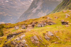 Norwegian old country houses in mountains. Stock Photography