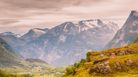 Norwegian old country houses in mountains. Stock Images