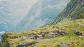 Norwegian old country houses in mountains. Stock Photos