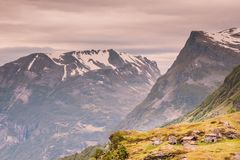 Norwegian old country houses in mountains. Royalty Free Stock Photography