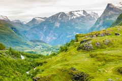 Norwegian old country houses in mountains royalty free stock photo