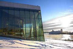 Norwegian Opera in Oslo at winter Stock Image