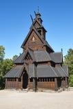 Norwegian Oslo restored stave church. Gol. Bygdoy. Norsk Folkemuseum. Vertical royalty free stock image