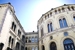 The Norwegian Parliament. The Norwegian Parlament in Oslo, Norway during the summer. Its called Stortinget in Norwegian. Here the entrance Royalty Free Stock Photo