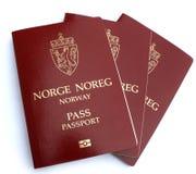 Norwegian passports. Three Norwegian passports isolated on white background stock images