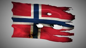 Norwegian perforated, burned, grunge waving flag loop alpha stock footage