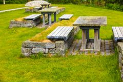 Camp site with picnic table in norwegian nature Royalty Free Stock Images