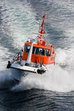 Pilot boat rushing through waves, Norway - Scandinavia Royalty Free Stock Photos