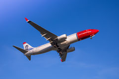 Norwegian plane. Photograph of a plane landing in El Prat airport, Barcelona, Spain Royalty Free Stock Photography