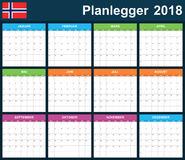 Norwegian Planner blank for 2018. Scheduler, agenda or diary template. Week starts on Monday Royalty Free Stock Photography