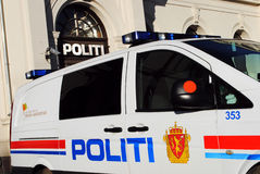 Norwegian police car in front of police station Stock Photo