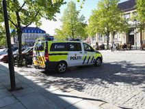 Norwegian police car. Police car in Trondheim city centre, Norway Stock Photography