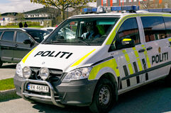 Norwegian police patrol car during patrol Stock Images