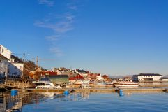 Norwegian port characteristic buildings Royalty Free Stock Images