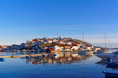 Norwegian port characteristic buildings Royalty Free Stock Photography