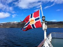 The Norwegian post flag. Royalty Free Stock Images