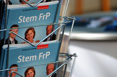 Norwegian Progress Party (FrP) campaign stand Stock Photography